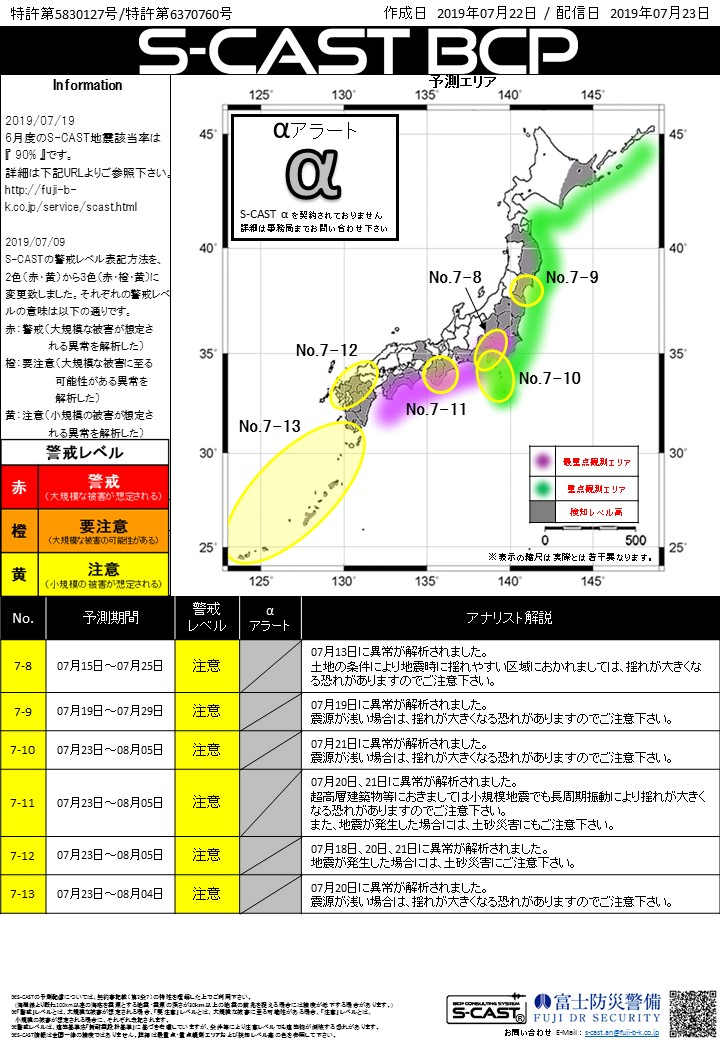 S-CAST notifies you when and where a large earthquake will occur, several days to 10 days in advance