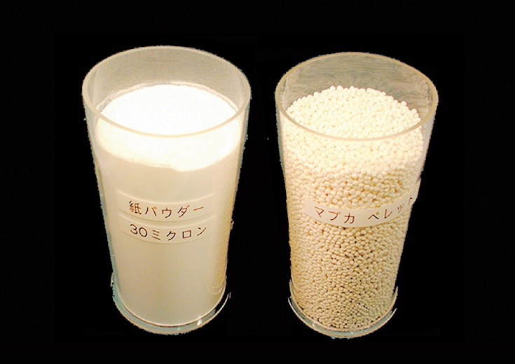 New material manufactured using paper powder with a unique kneading technique. Usage of plastics, and greenhouse gas emissions are both reduced